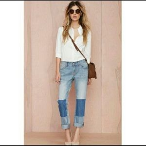 NWT NAST GAL PATCH UP BOYFRIEND JEANS